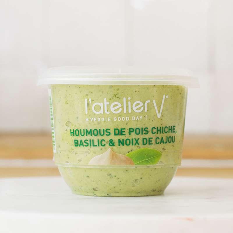 Houmous de pois chiche, basilic et noix de cajou BIO, L'Atelier V (150 g)