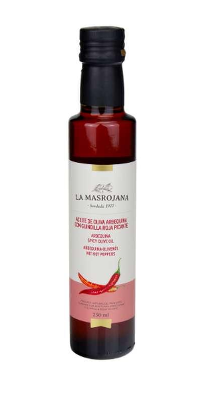 Huile d'olive d'Arbequine arômatisée au piment frais, La Masrojana (250 ml)