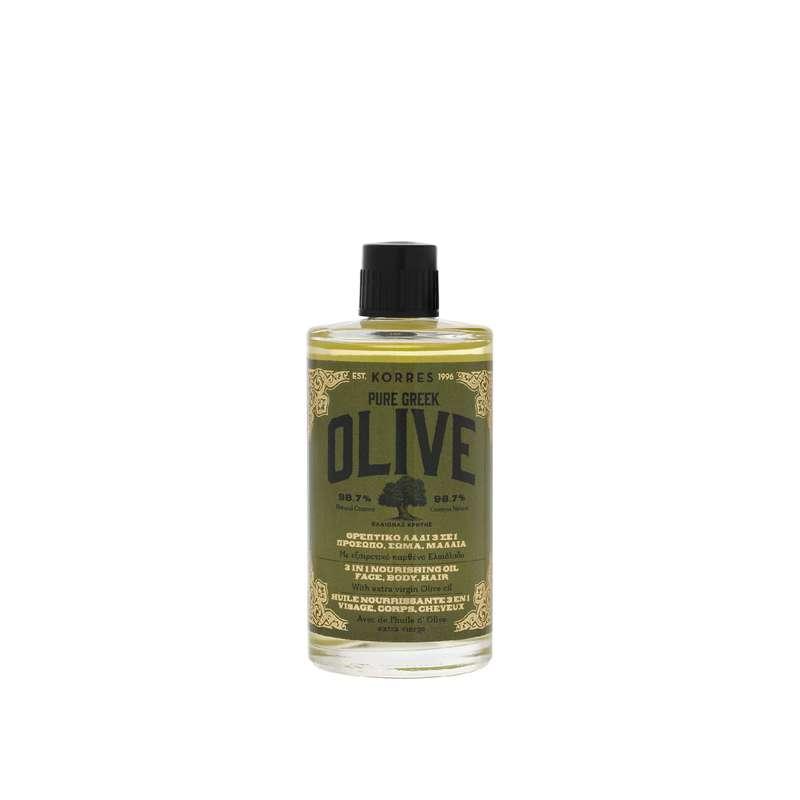 Huile nourrissante 3en1 visage, corps et cheveux Olive, Korres (100 ml)