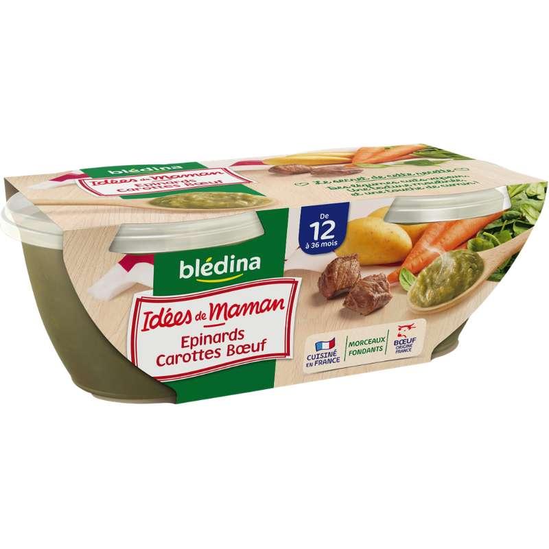 Bols épinards, carottes et boeuf Idées de Maman - dès 6 mois, Blédina (2 x 200 g)