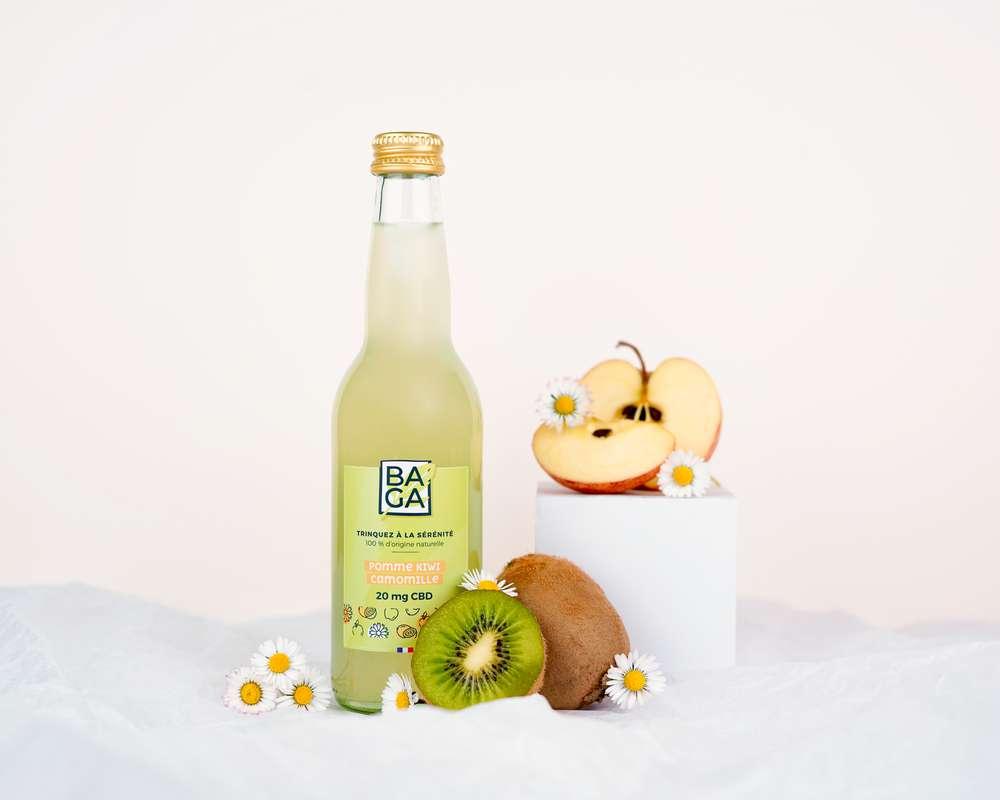 Infusion CBD aromatisé Pomme, Kiwi et Camomille, Baga (33 cl)