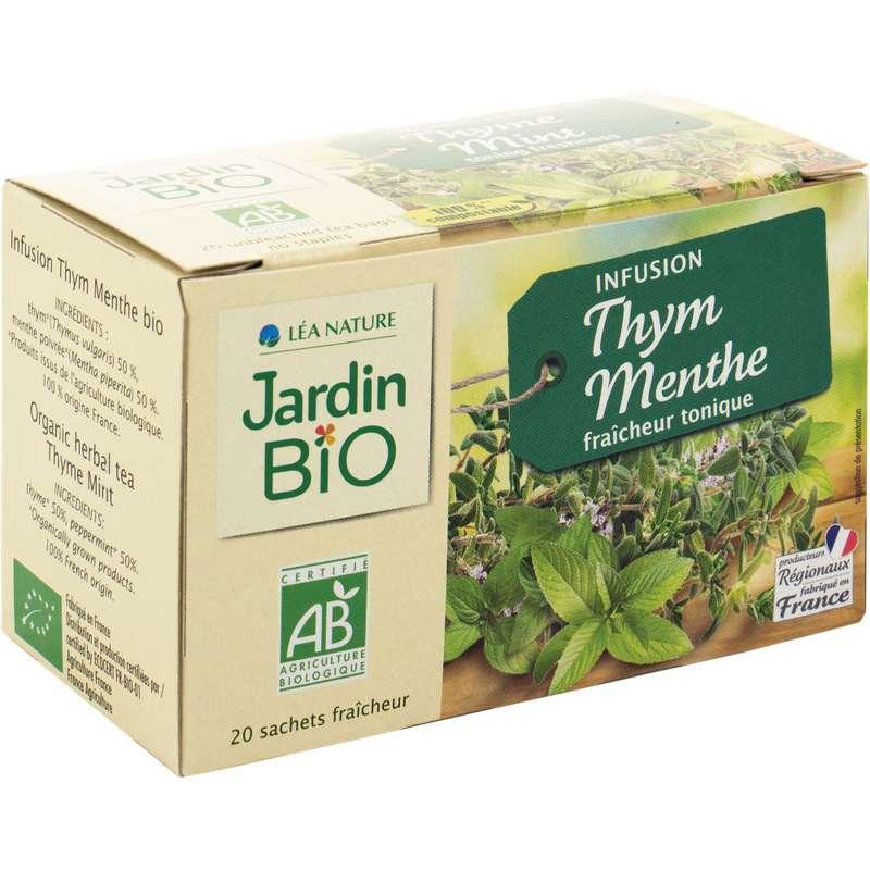 Infusion tonique thym-menthe BIO, Jardin Bio (20 sachets)