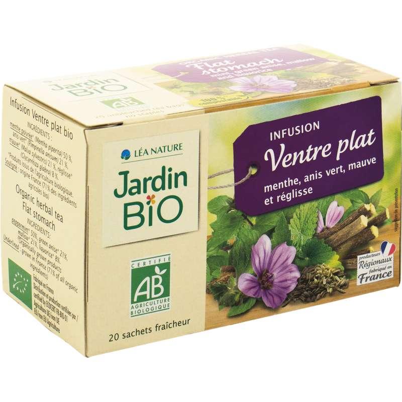 Infusions ventre plat menthe, anis, mauve et réglisse BIO, Jardin Bio (20 sachets)