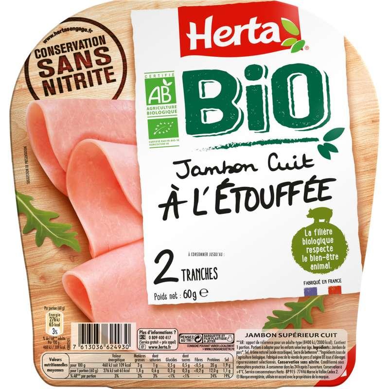 Jambon cuit à l'étouffée conservation sans nitrite BIO, Herta (2 tranches, 60 g)