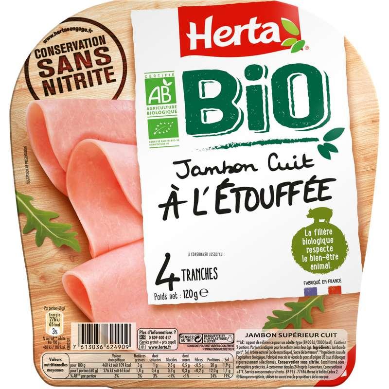 Jambon cuit à l'étouffée conservation sans nitrite BIO, Herta (4 tranches, 120 g)