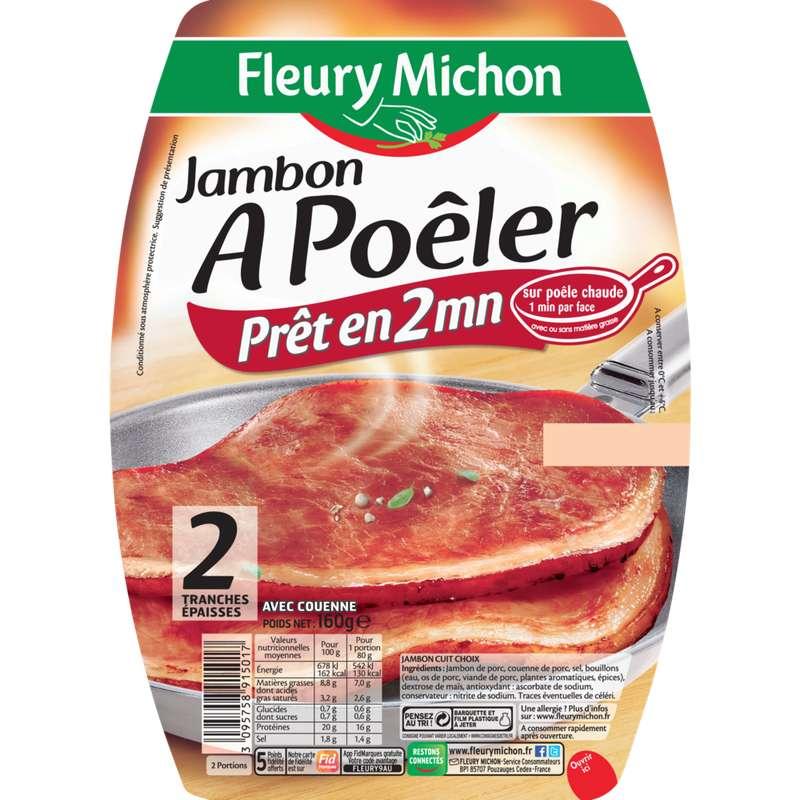 Jambon cuit à poêler, Fleury Michon (2 tranches, 160 g)