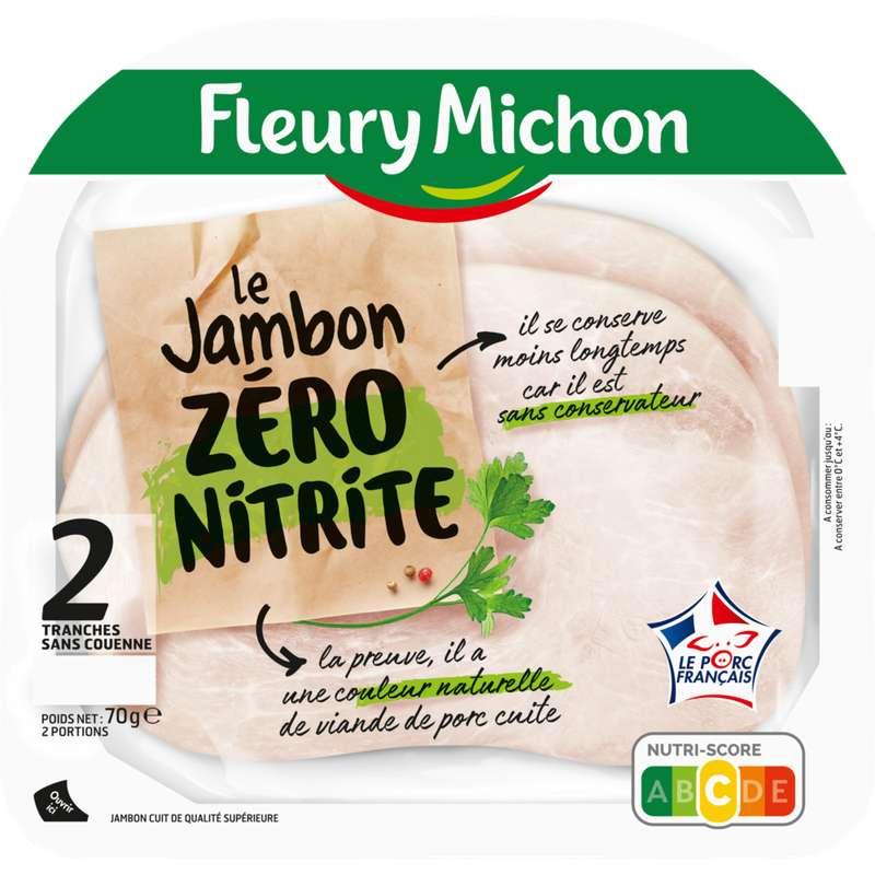 Jambon de porc zéro nitrite tranche fine, Fleury Michon (2 tranches, 70 g)