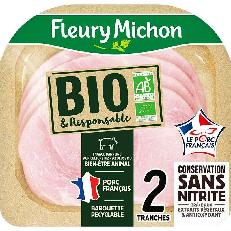 Jambon Français BIO et responsable sans couenne, Fleury Michon (2 tranches, 120 g)