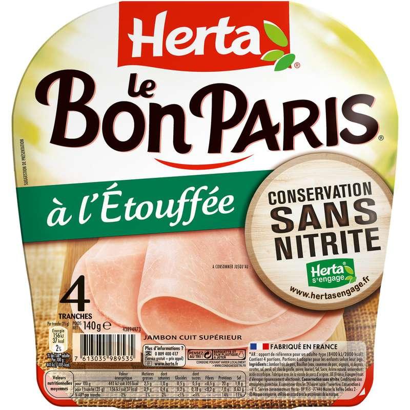 Jambon Le Bon Paris sans nitrite, Herta (4 tranches, 140 g)