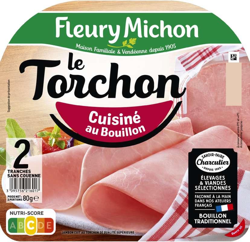 Jambon Le Torchon cuisiné au bouillon, Fleury Michon (2 tranches, 80 g)