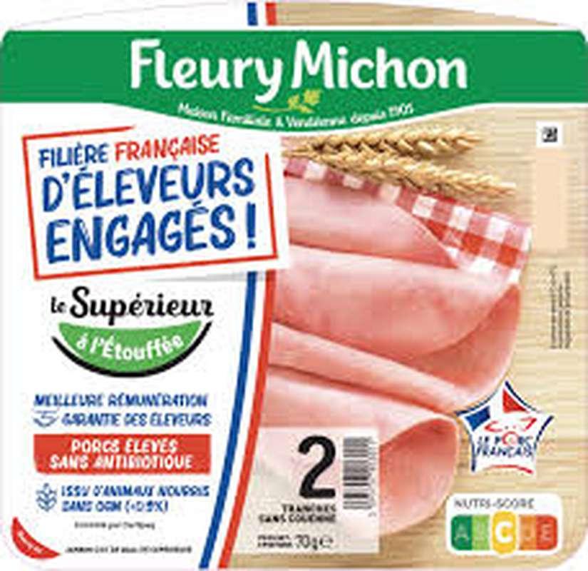Jambon Le supérieur sans couenne sans antibiotiques Filière française d'éleveurs engagés, Fleury Michon (2 tranches, 70 g)