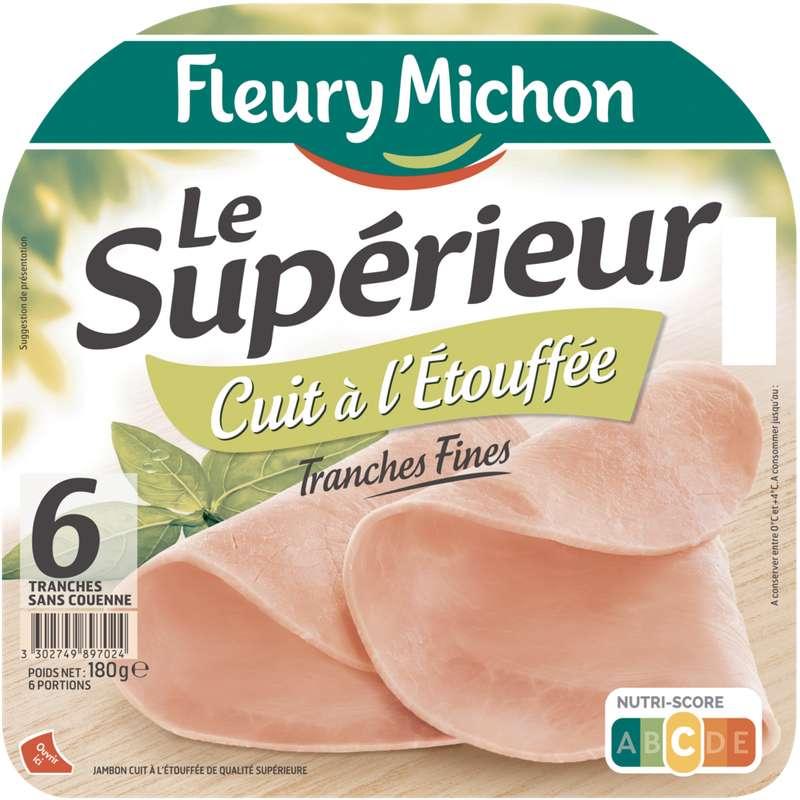 Jambon Le Supérieur cuit à l'étouffée, Fleury Michon (6 tranches, 180 g)