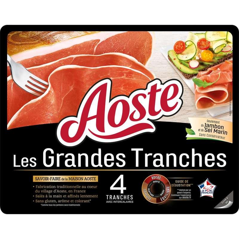 Jambon cru Les Grandes Tranches sans conservateurs, Aoste (4 tranches, 100 g)
