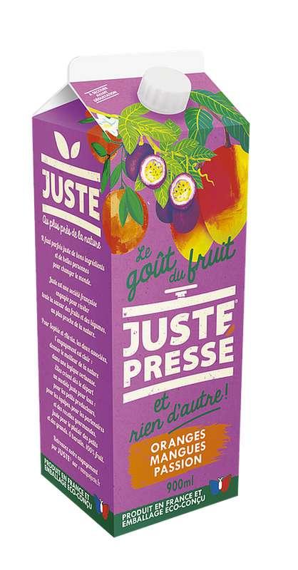 Jus 100 % Fruits pressés Orange, Mangue et Passion, Juste Pressé (90 cl)