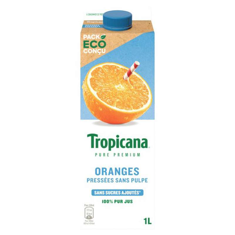Jus d'orange frais sans pulpe Pure Premium, Tropicana (1 L)