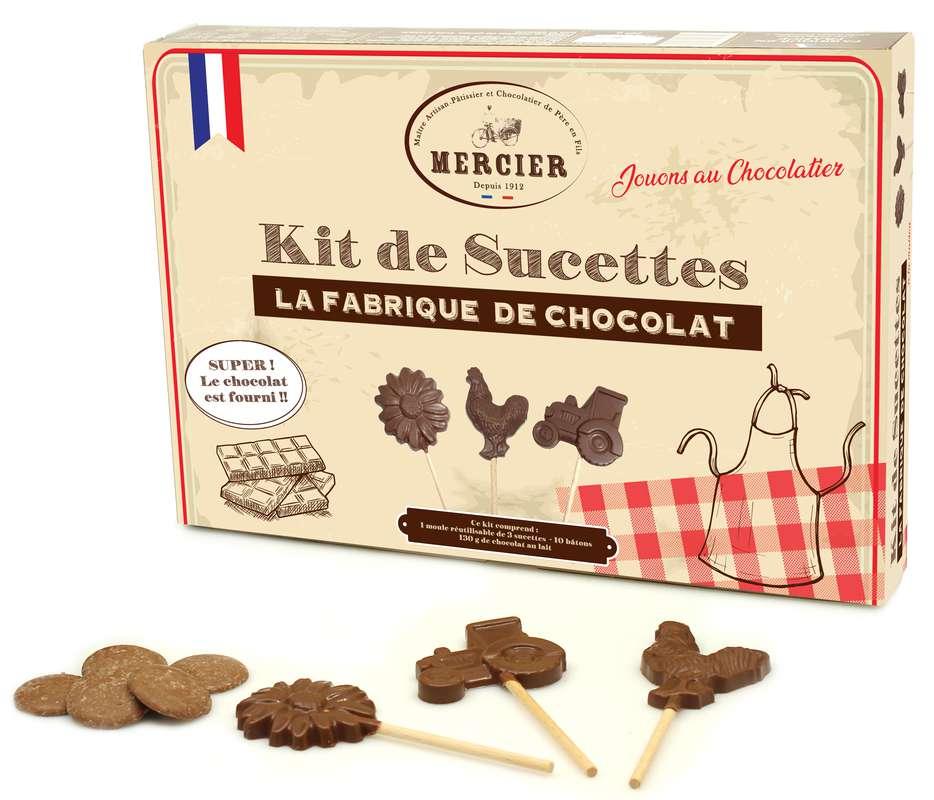 Kit de 10 sucettes - La Fabrique de Chocolat, Chocolaterie Mercier (130 g)