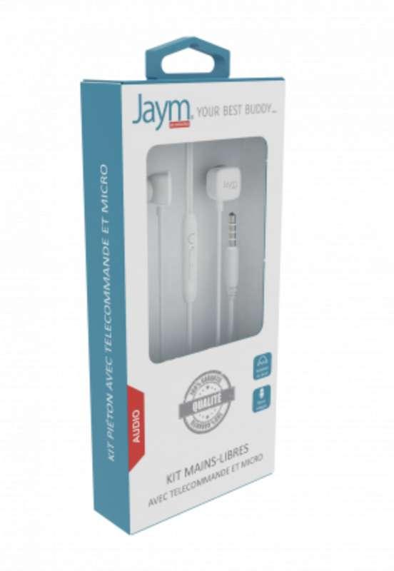 Kit piéton écouteurs intra-auriculaire jack et micro télécommande blanc, Jaym