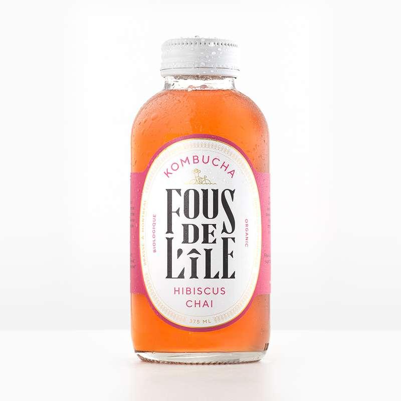 Kombucha Hibiscus Chaï BIO, Fous de l'Ile (375 ml)
