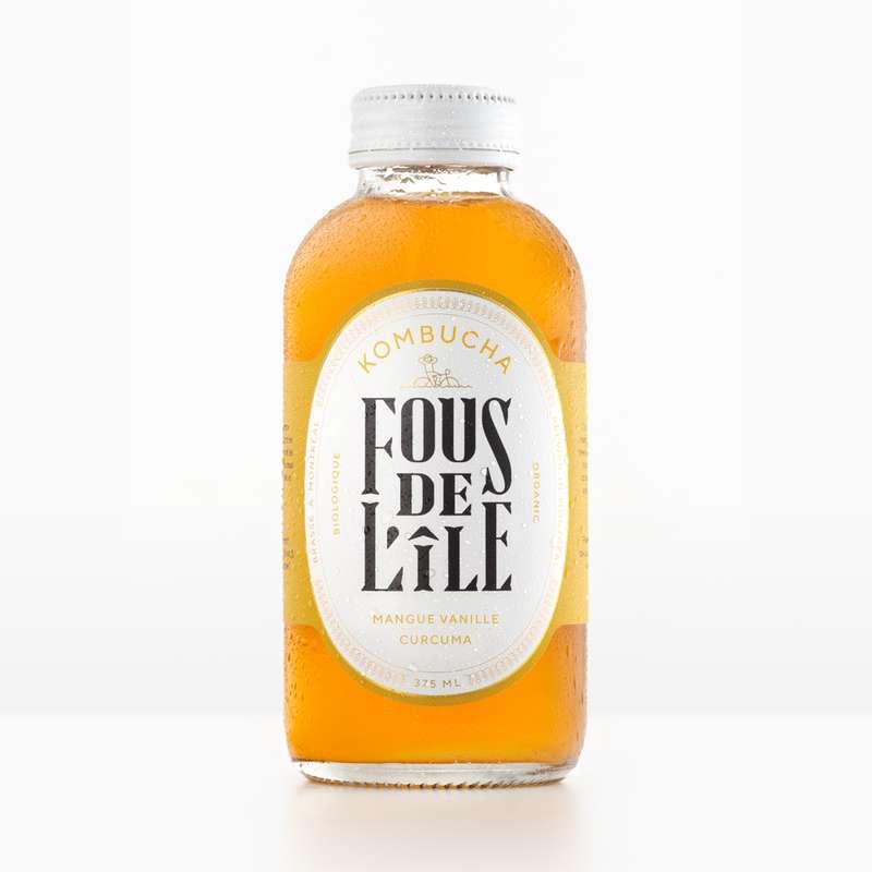 Kombucha Mangue Vanille Curcuma BIO, Fous de l'Ile (375 ml)