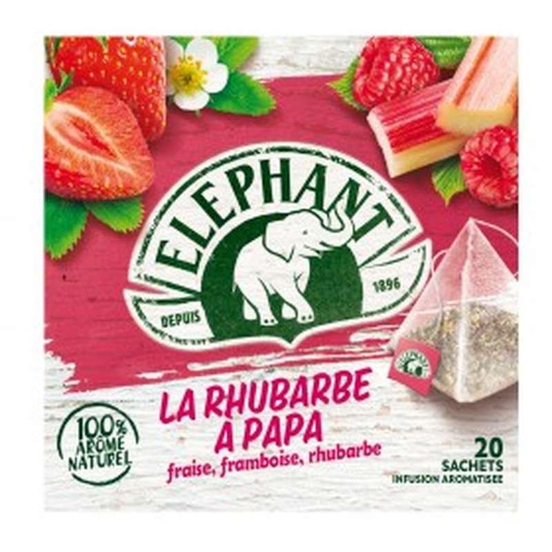 Infusion La rhubarbe à papa fraise framboise et rhubarbe, Elephant (20 sachets)