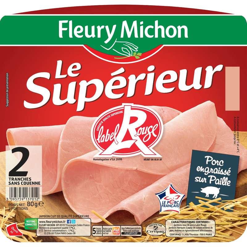 Jambon Le Supérieur Label Rouge, Fleury Michon (2 tranches, 80 g)