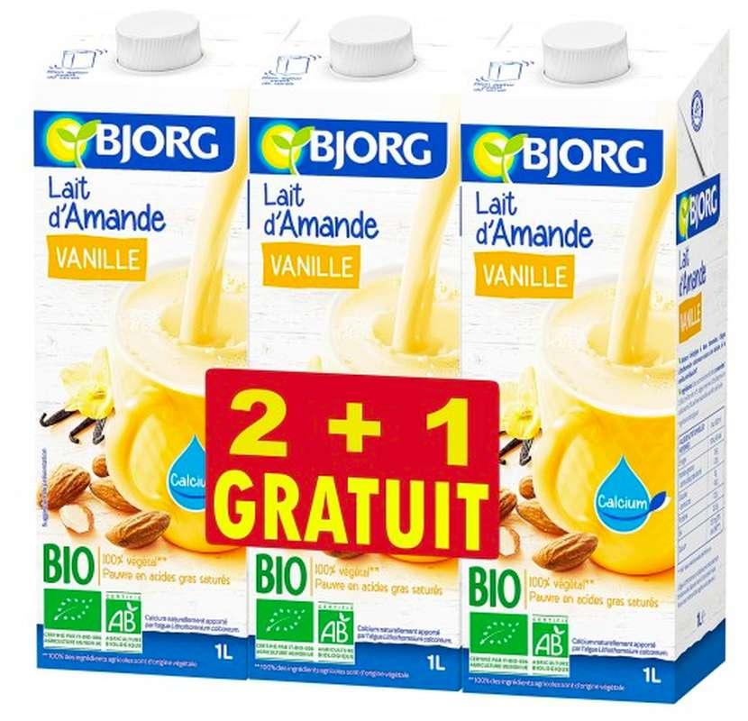 Lait d'amande à la vanille BIO, Bjorg LOT DE 2 + 1 OFFERT (3 x 1 L)