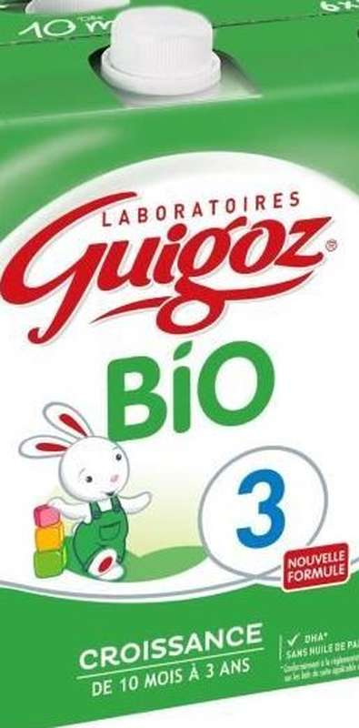 Lait de croissance 3 BIO - de 10 mois à 3 ans, Guigoz (500 ml)