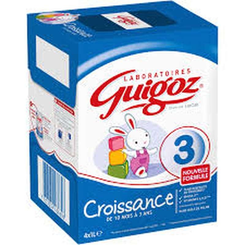 Pack Lait de Croissance 3 - de 10 mois à 3 ans, Guigoz (4 x 1 L)