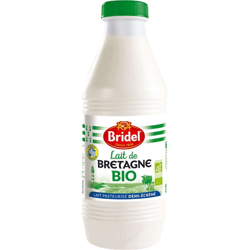 Lait demi-écrémé de Bretagne BIO, Bridel (1 L)