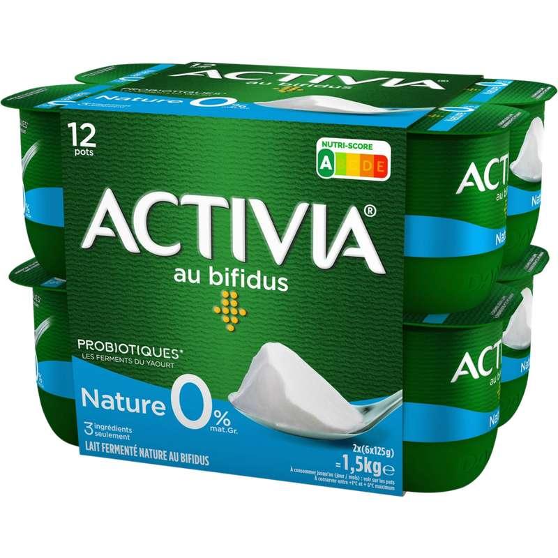 Yaourt nature au bifidus 0% MG, Activia (12 x 125 g)