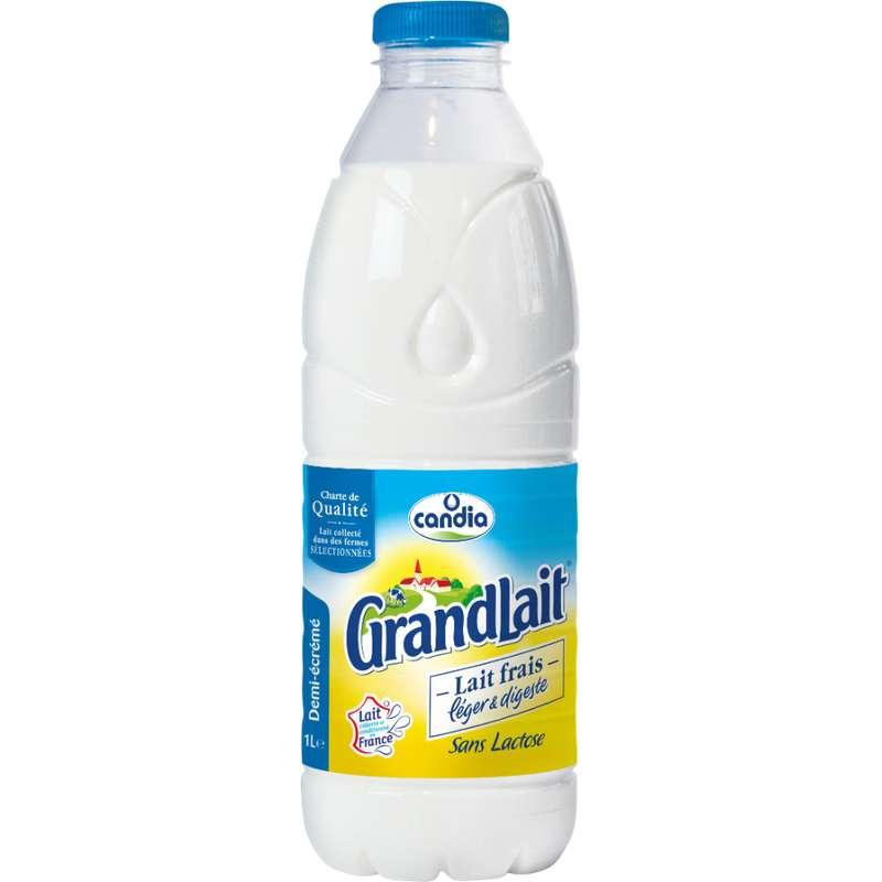 Lait frais léger et digeste demi-écrémé sans lactose, Grandlait (1 L)