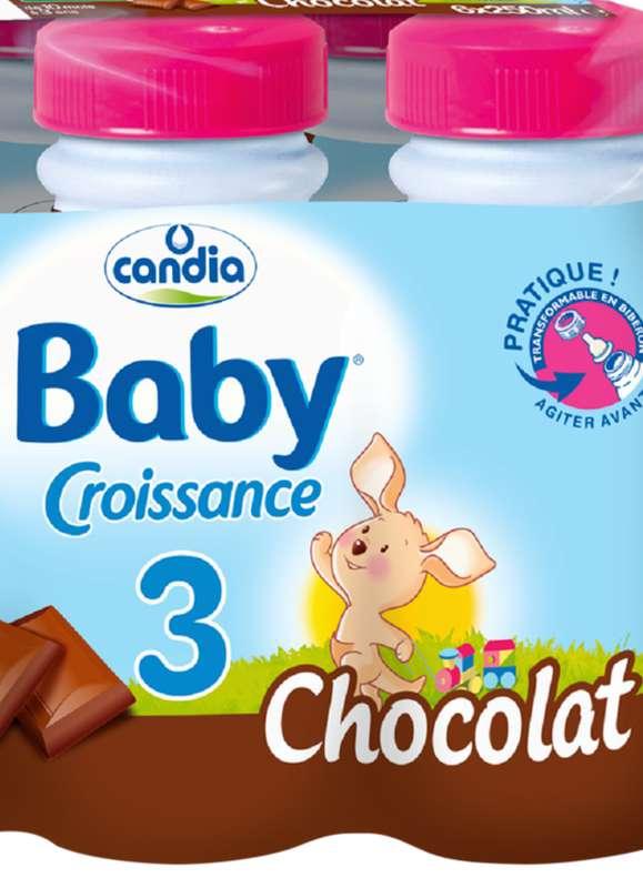 Lait pour bébé au chocolat 3, 12 à 36 mois, Candia baby (25 cl)