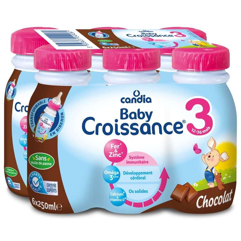 Pack Lait pour bébé au chocolat 3, dès 10 mois, Candia baby (6 x 25 cl)