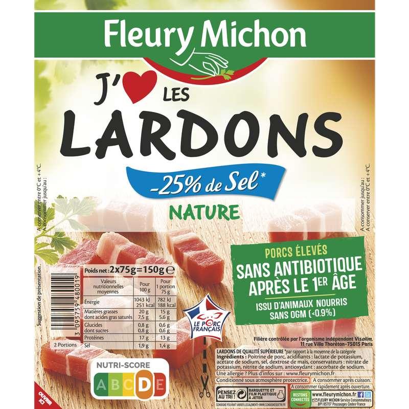 """Lardons natures """"j'aime"""" taux de sel réduit, Fleury Michon (2 x 75 g)"""