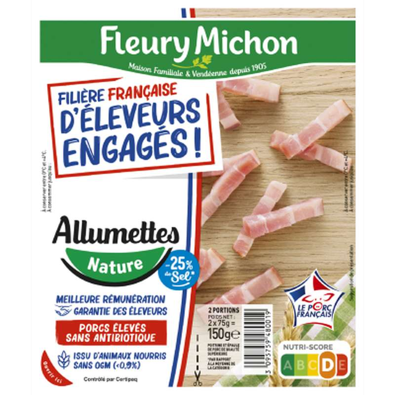Lardons allumettes nature -25% de sel, Fleury Michon (2 x 75 g)