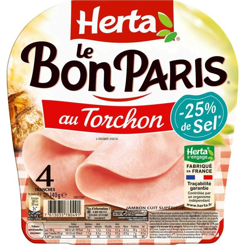 Jambon Le Bon Paris au torchon -25% sel, Herta (4 tranches, 140 g)