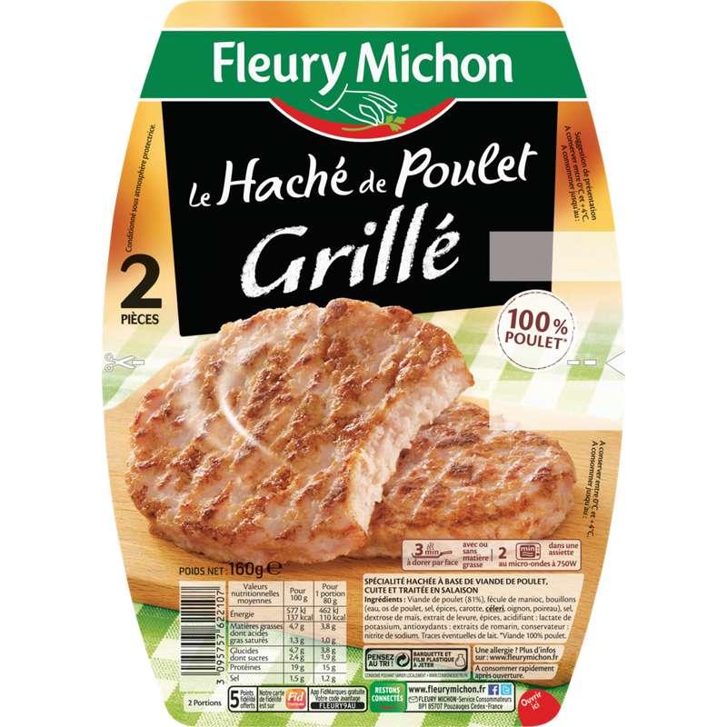 Haché de poulet grillé, Fleury Michon (2 x 80 g)