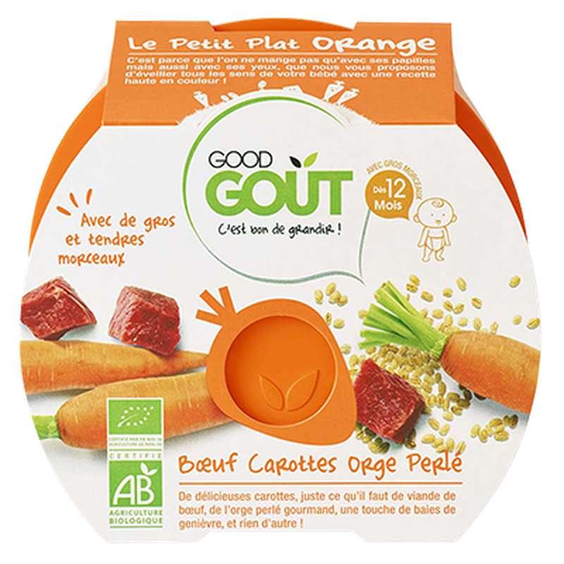 Le petit plat orange : boeuf, carottes, orge perlé BIO - dès 12 mois, Good Goût (220 g)