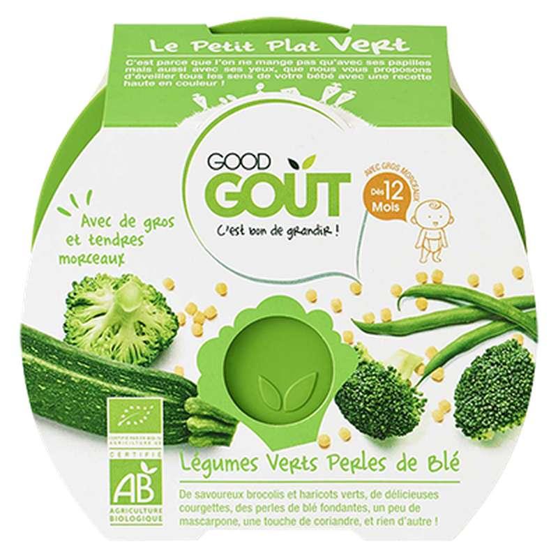 Le petit plat vert : légumes verts, perles de blé BIO - dès 12 mois, Good Goût (220 g)