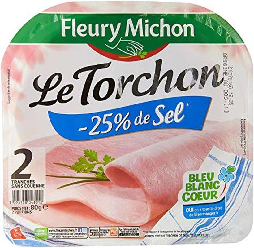 Jambon Le Torchon - 25% de sel, Fleury Michon (2 tranches, 80 g)