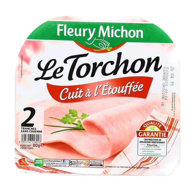 Jambon Le Torchon cuit à l'étouffée, Fleury Michon (2 tranches, 80 g)
