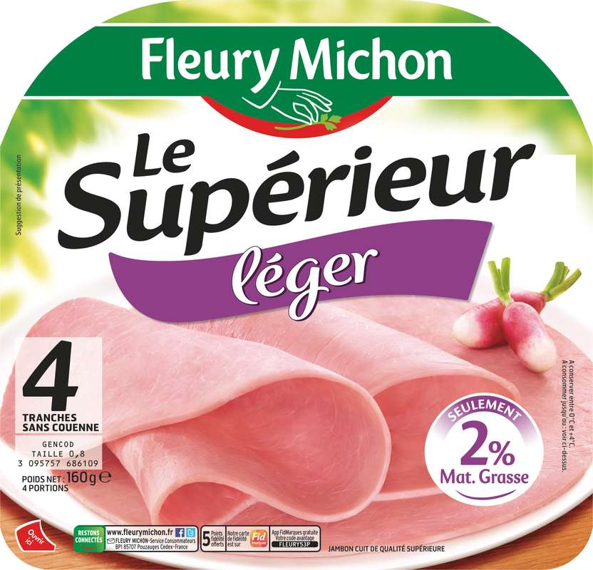 Jambon Le Supérieur Léger 2% MG, -25% de sel, Fleury Michon (4 tranches, 160 g)