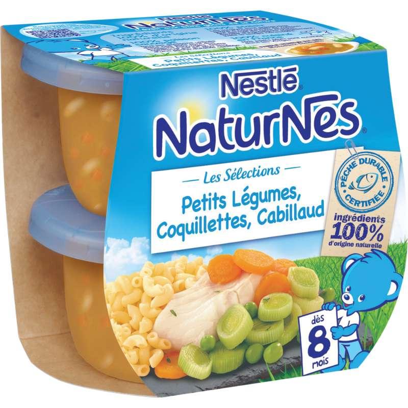 Les sélections petits légumes, coquillettes, cabillaud - dès 8 mois, Naturnes Nestlé (2 x 200 g)