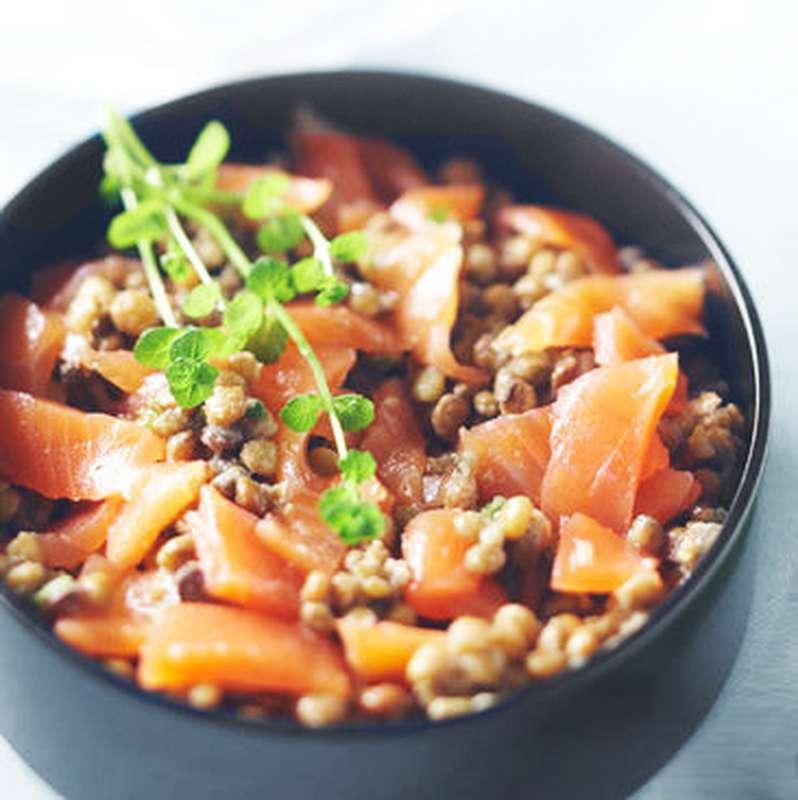 Saladier de lentilles anisées, gravlax de saumon à l'aneth, vinaigrette moutardée / à commander 48h à l'avance