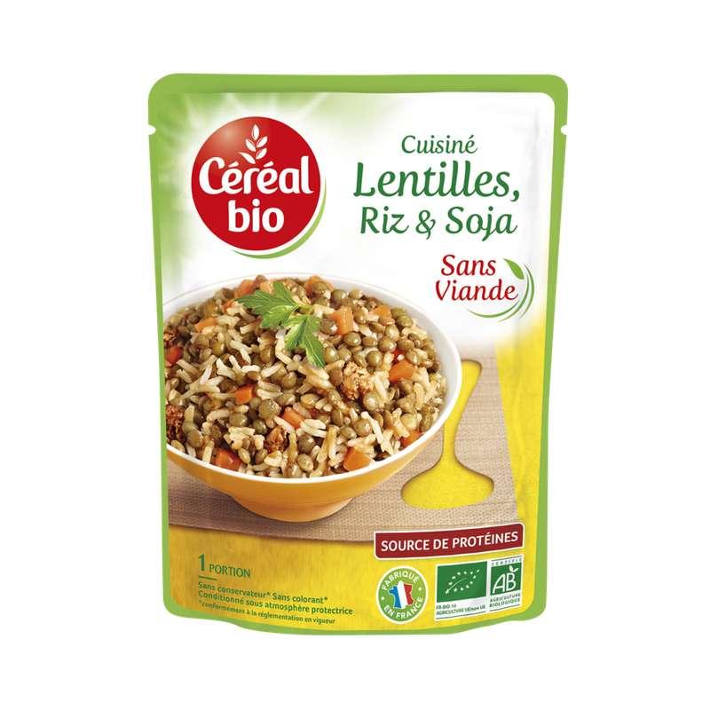 Lentilles riz et soja cuisiné BIO, Céréal Bio (250 g)