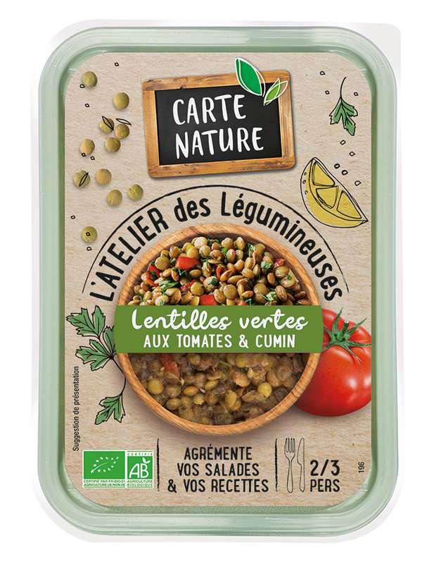 Lentilles vertes cuisinées aux tomates & cumin BIO, Carte nature (280 g)