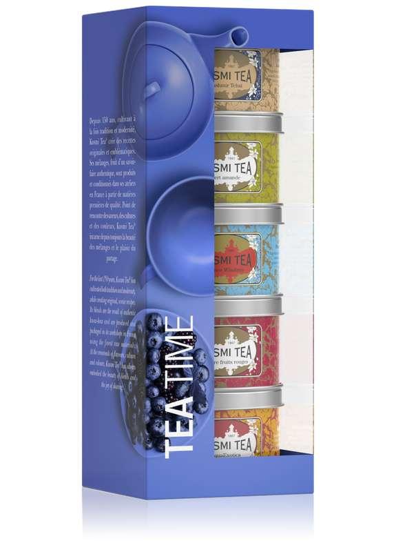 Les Après-Midis Tea Time assortiment boîtes metal, Kusmi Tea (x 5, 125 g)