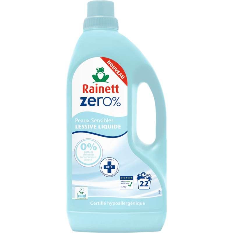 Lessive liquide 0% peaux sensibles, Rainett (1,5 L = 22 lavages)