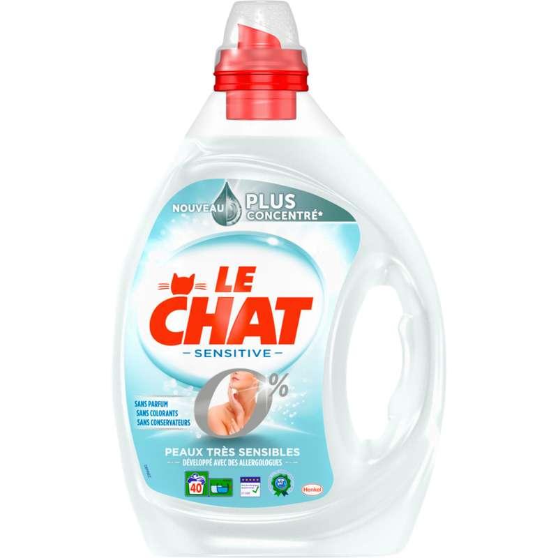 Lessive liquide Sensitive 0%, Le Chat ( 2 L = 40 lavages)