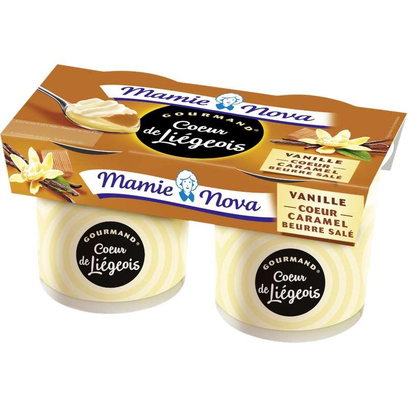 Liégeois Vanille coeur Caramel beurre salé, Mamie Nova (2 x 120 g)